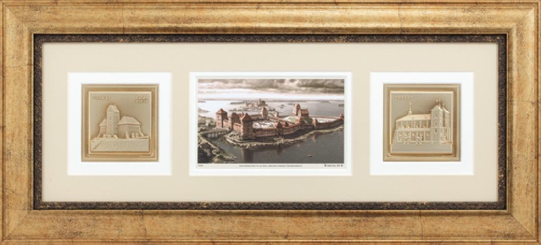 """Grafikos paveikslas """"Trakų pusiasalio pilis, XIVa. pab. XVa. pr."""" su architektūra"""
