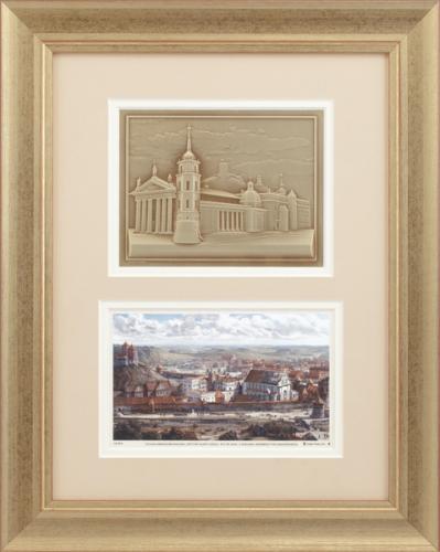 """Grafikos paveikslas """"Vilnius, LDK Žygimanto Augusto ir Barboros Radvilaitės laikais"""" su žalvariniu Vilniaus reljefu"""