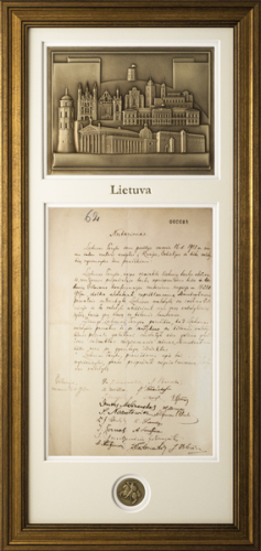 Nepriklausomybės aktas, nutarimas (kopija) su Lietuvos architektūra