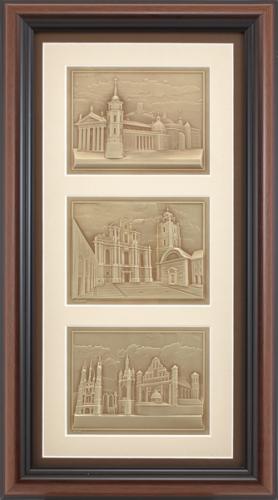 """Reljefinės grafikos triptikas """"Vilniaus Katedra - Jonų bažnyčia - Šv. Onos ir Bernardinų ansamblis"""""""