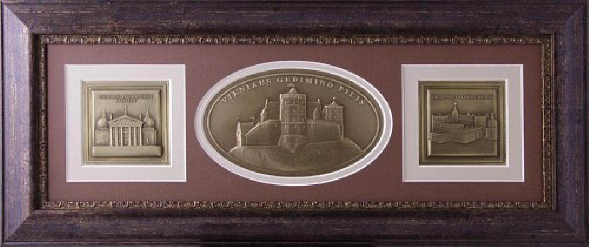 """Reljefinės grafikos paveikslas """"Vilniaus Arkikatedra Bazilika - Vilniaus Gedimino pilis - Lietuvos Valdovų rūmai"""""""