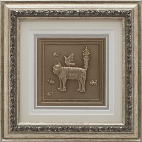 """Reljefinės grafikos paveikslas """"Batuotas katinas"""""""