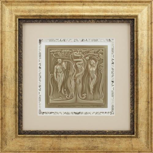 """Reljefinės grafikos paveikslas """"Adomas ir Ieva IV"""""""