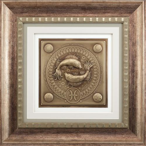 Reljefinės grafikos paveikslas ''Žuvys''