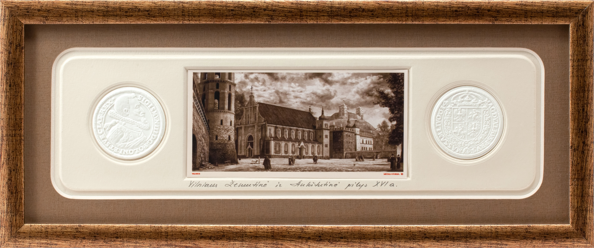 "Picture ""Vilnius, Renaissance. In the Time of Stephen Bathory"" with coins"