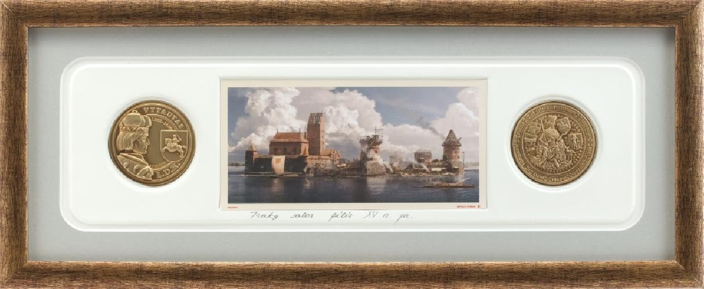 """Grafikos paveikslas """"Trakų pusiasalio pilis XVa. pr. su monetomis"""""""