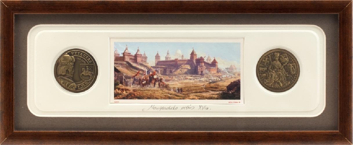 """Grafikos paveikslas """"Naugarduko pilis XVIa. su monetomis"""""""