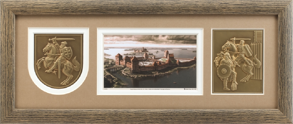 """Grafikos paveikslas """"1402m. Medininkų pilies apgultis"""" su Vyčiu ir kariais"""