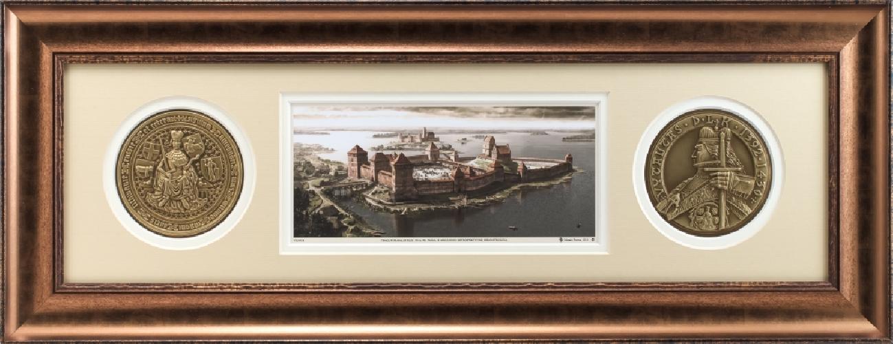 """Grafikos paveikslas """"Trakų pusiasalio pilis XIV a. pb. XVa. pr."""""""
