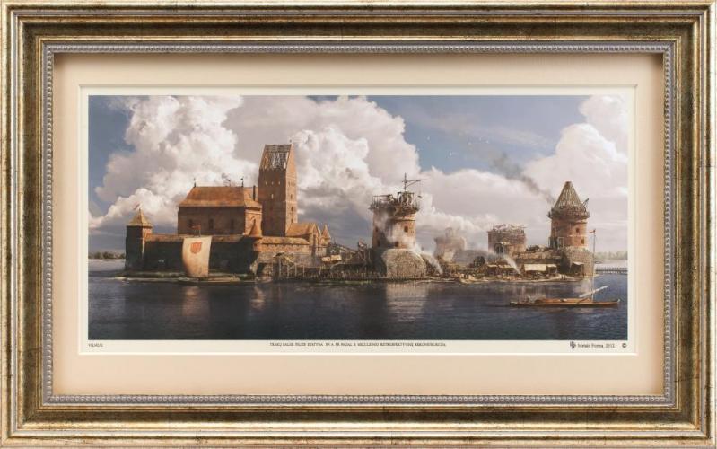 """Grafikos paveikslas """"Trakų salos pilis XIVa. pab."""""""