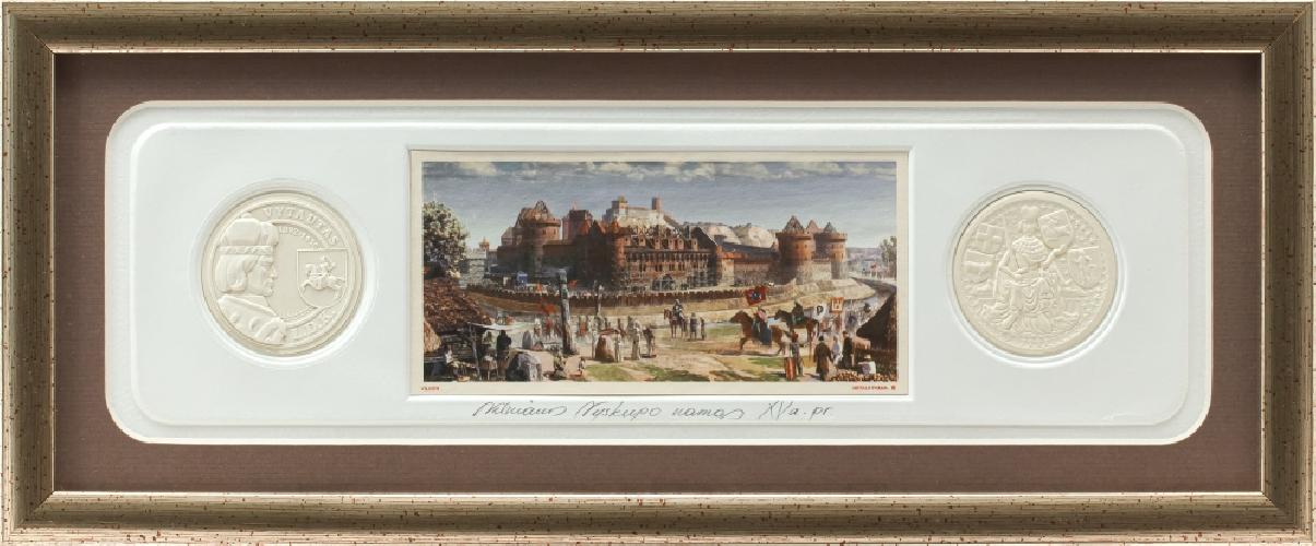 """Grafikos paveikslas """"Vilniaus Vyskupo namai XVa. pr. """" su monetomis"""
