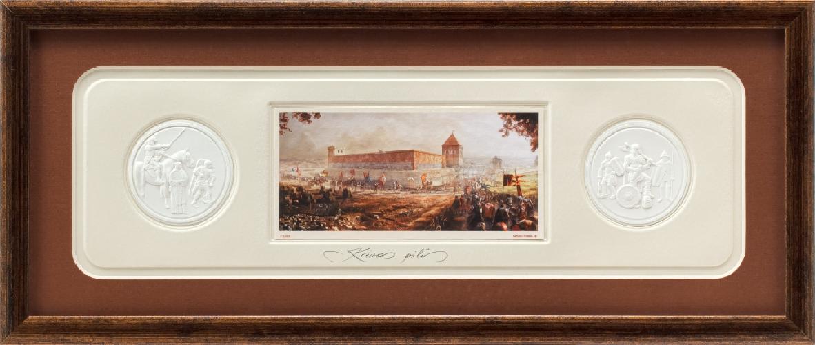 """Grafikos paveikslas """"Krėvos pilis su monetomis"""""""