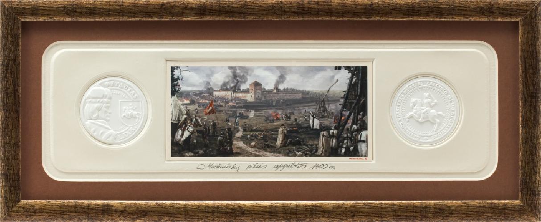 """Grafikos paveikslas """"Medininkų pilies apgultis su monetomis"""""""