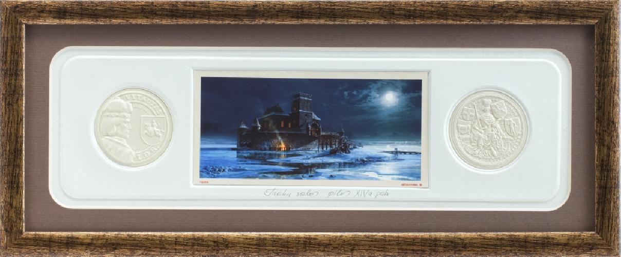 """Grafikos paveikslas """"Trakų salos pilis, XIVa. pab."""" su monetomis"""