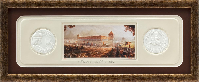 """Grafikos paveikslas """"Krėvos pilis"""" su monetomis"""