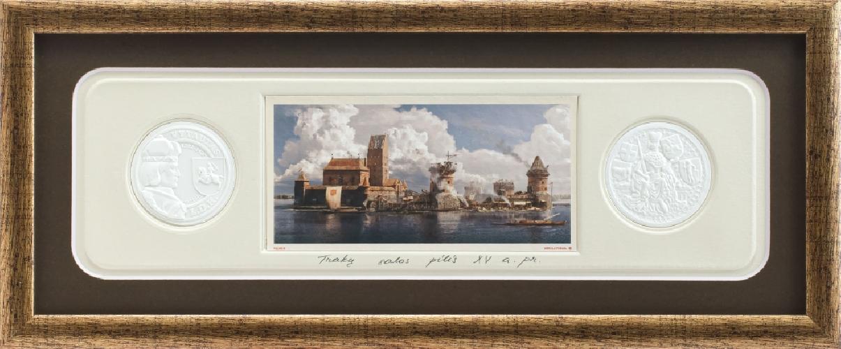 """Grafikos paveikslas """"Trakų salos pilis, XVa. pr."""" su monetomis"""