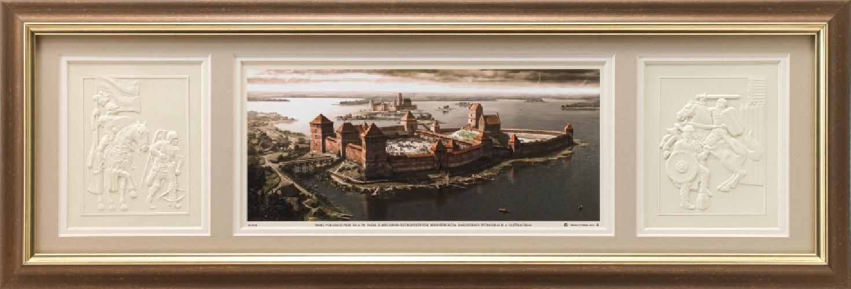 """Grafikos paveikslas """"Trakų pusiasalio pilis, XIVa. pab. XVa. pr."""""""