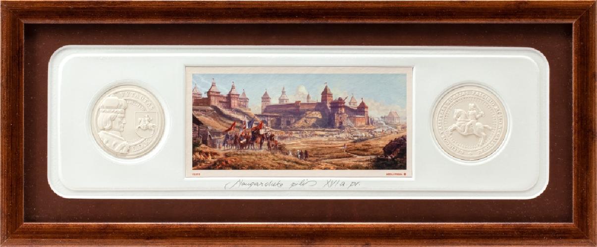 """Grafikos paveikslas """"Naugarduko pilis XVIa. pr. """" su monetomis"""