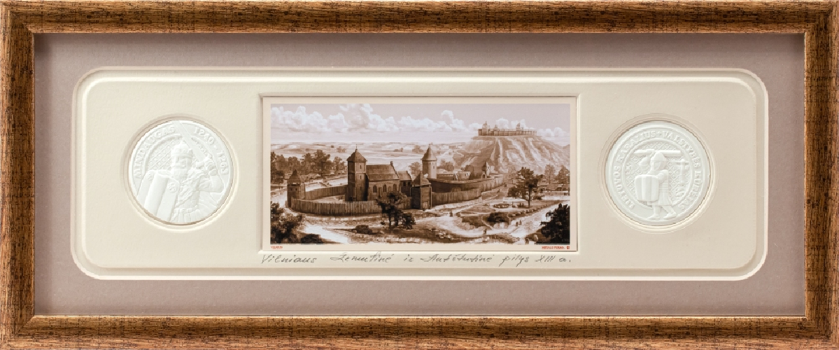 "Grafikos paveikslas ""Vilnius .Mindaugo katedra, XIIIa. pr."""
