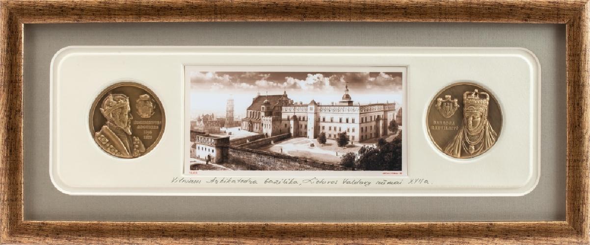 """Grafikos paveikslas """"Renesansiniai LDK rūmai Vilniuje. LDK Zigmanto Vazos laikai"""" su monetomis"""