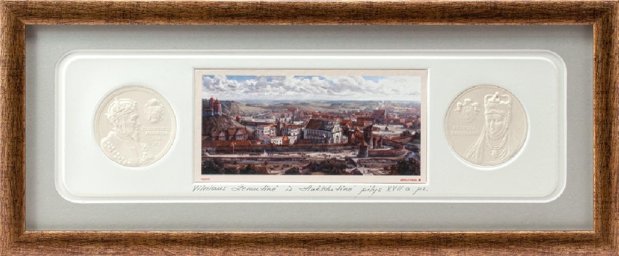 """Grafikos paveikslas """"Kauno pilis. LDK Žygimanto Augusto laikais su monetomis"""""""