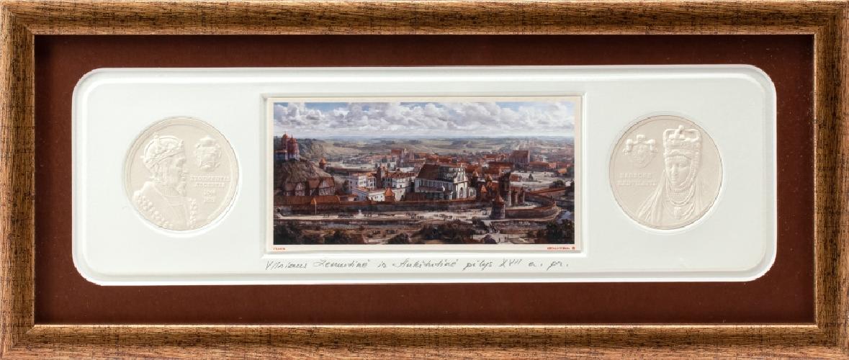 """Grafikos paveikslas """"Vilnius. LDK Žygimanto Augusto ir Barboros Radvilaitės laikais"""" su monetomis"""