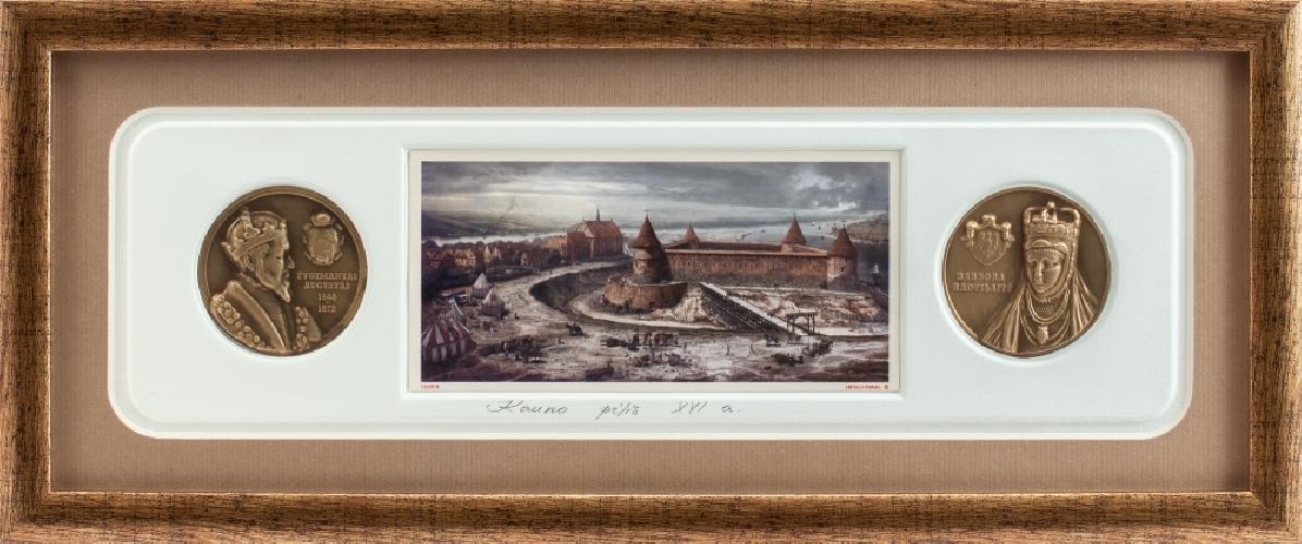 """Grafikos paveikslas """"Kauno pilis. LDK Žygimanto Augusto laikais"""" su monetomis"""