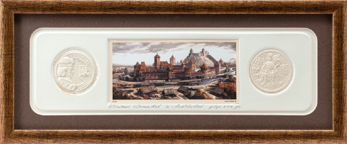 "Grafikos paveikslas ""Vilnius. Vytauto - Jogailos laikmetis"" su monetomis"
