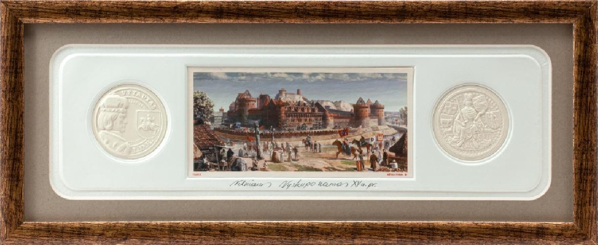 """Grafikos paveikslas """"Vilniaus Vyskupo namas XV a.pr."""" su monetomis"""