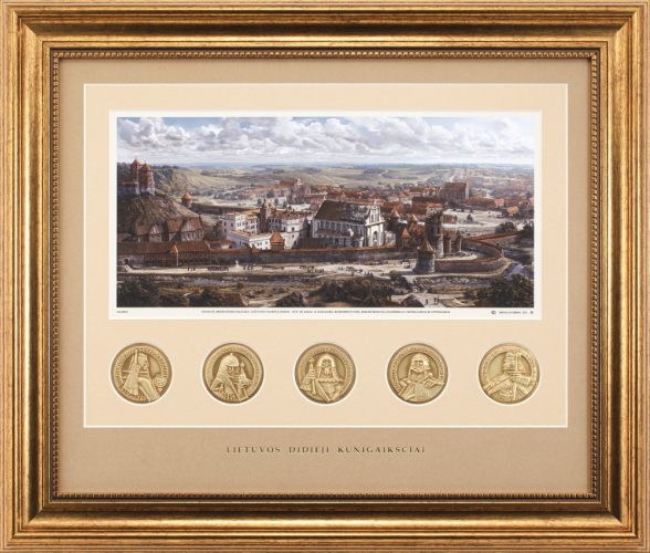 """Grafikos paveikslas """"Vilnius. LDK Žygimanto Augusto ir Barboros Radvilaitės laikais"""" ir Lietuvos didieji kunigaikščiai"""