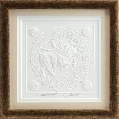Reljefinės grafikos paveikslas iš serijos zodiakai ''Jautis''