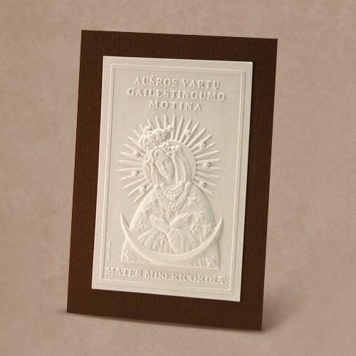 Reljefinės grafikos pakabinamas suvenyras ''Aušros vartų Marija''