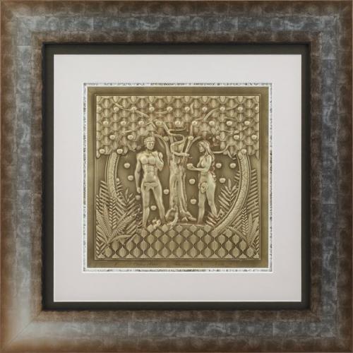 """Reljefinės grafikos paveikslas """"Adomas ir Ieva II"""""""