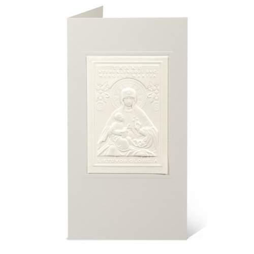 """Atvirukas su popieriniu reljefiniu vaizdu """"Trakų stebuklingoji švč. Mergelė Marija"""""""