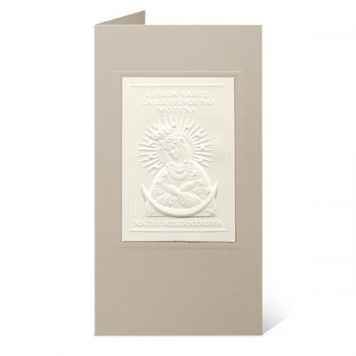 """Atvirukas su popieriniu reljefiniu vaizdu """"Aušros vartų Marija"""""""
