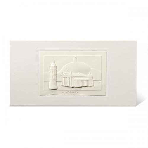 """Atvirukas su popieriniu reljefiniu vaizdu """"Vilnius. Katedra"""""""