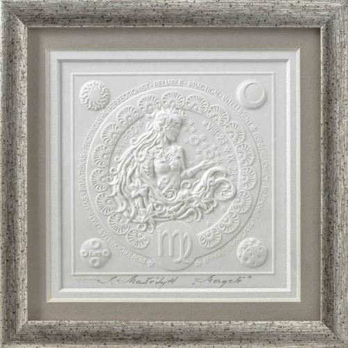 Reljefinės grafikos paveikslas iš serijos zodiakai ''Mergelė''