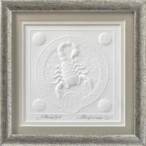 Reljefinės grafikos paveikslas iš serijos zodiakai ''Skorpionas''
