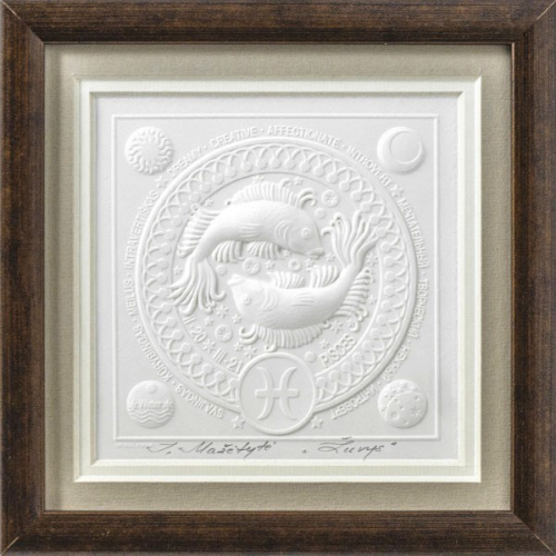 Reljefinės grafikos paveikslas iš serijos zodiakai ''Žuvys''