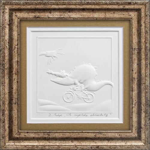 """Reljefinės grafikos paveikslas """"Ir nupirko dviratuką"""""""